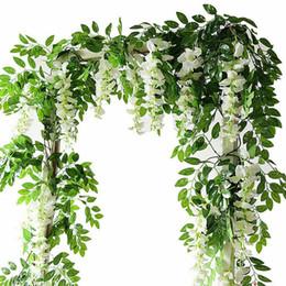 2019 ghirlanda di fiori artificiali 2M fiori artificiali simulazione di stringa glicine vite rattan ghirlanda piante fogliame per giardino casa decorazione di nozze all'aperto ghirlanda di fiori artificiali economici