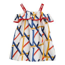 Vestidos expostos on-line-Girls'Geometric Patterns Shoulder-exposto Gravata Suspender Vestidos bonito do bebê menina deslizamento saias meninas vestidos de algodão roupas de verão casual