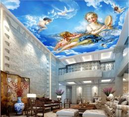 Argentina 3D murales en el techo fondo de pantalla personalizado foto no tejido murales de pared diosa diosa ángel nube canción Europeo cenit decoración para el hogar arte de la pared fotos cheap angels weaves Suministro