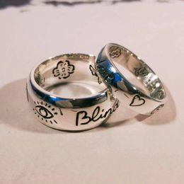 Augenjalousien online-Blind für die Liebe 925 Sterling Silber Auge Herz Blume Vogel Paar Ring K5583