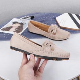 2019 sapatos baixos para grávidas 2019 Mulheres Suede Ballet Flats Mocassins Doces Doce Slipony Flats Plus Size 35-42 Feminino Mocassin Sapatos Alpercatas Grávidas YGH-34 sapatos baixos para grávidas barato