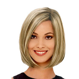 12 'Parting BOBO Highlights Hair Full Wig Ladies Girls Gifts Fashion Women Sexy MediumShort Natural pelucas rectas desde fabricantes