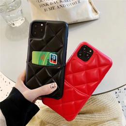 2020 iphone rückentasche Luxus-Designer-Telefonkästen für iphone 11 pro max 8plus X XR XS MAX mit Kartentasche Gitterabdeckung Leder zurück günstig iphone rückentasche