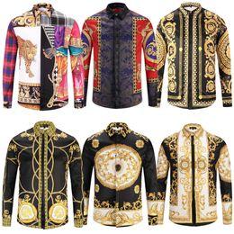 Disegni patchwork per abiti online-10 pezzi / lotto DHL LIBERA il trasporto Nuovo Medusa Camicia casual da uomo Slim Fit Camicie Moda casual camicie da uomo Disegni camicie