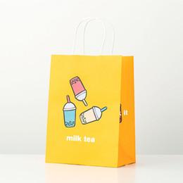 Lait Thé Emballage Sac Cadeau Sac Fourre-Tout Kraft Papier Jetable Partie Takeout Sac À Emporter Emballage 21x11x27cm ZC0799 ? partir de fabricateur