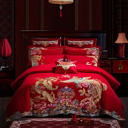 Conjuntos de quarto chinês on-line-Dragão chinês bordado Conjunto De Cama 4/6/9 pcs Algodão Capa de Edredão Folha de Cama Fronhas Quarto Cama de Linho Rainha casamento Conjunto de cama