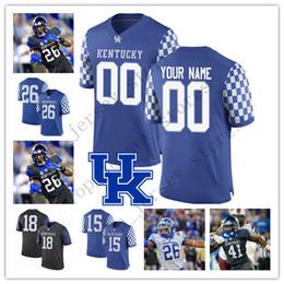 2020 camiseta de fútbol de la universidad azul Costumbre 2019 Kentucky Wildcats cualquier nombre Número Azul Negro Blanco 1 Lynn Bowden Jr. 3 Terry Wilson 26 Benny Snell Jr. Colegio camiseta de fútbol rebajas camiseta de fútbol de la universidad azul