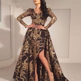 Canada Luxe Noir Or Glitter Sirène Manches Longues Robe De Soirée 2019 Arabie Saoudite Dubaï Marocain Amovible Train Robe De Bal Musulman cheap saudi arabia mermaid evening dresses Offre