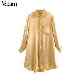 2019 projetos da camisa das mulheres Vadim mulheres sólido longo blusa bolsos design assimétrico camisas de manga longa fêmea reta casual tops blusas LA608 desconto projetos da camisa das mulheres
