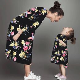 2019 ropa madre hija Vestidos de madre e hija Vestido floral de manga larga Ropa de madre e hija Vestido de madre e hija Ropa a juego de la familia LJJK1846 ropa madre hija baratos