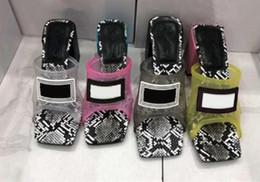 Sandálias transparentes calcanhares on-line-Luxo Jelly Designer Chinelos PVC chinelo Transparente High Heel 9 centímetros 12 centímetros Sandals Slides Alto Contraste Couro Cor Serpentine Shoes