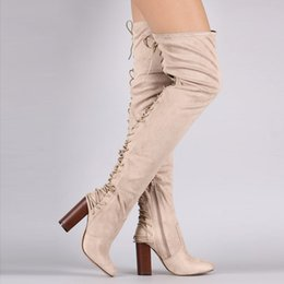 Бежевые кружевные сапоги онлайн-Beige Flock Pointed Toe Runway Thigh High Boots Cross-tied Women Over-The-Knee Boots Lace-Up High Heels Women Motorcycle