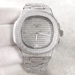 Relógio diamante japão on-line-Melhor Qualidade Nautilus Diamante wach para homens Japão Automático prata 40mm rosto Inoxidável Conjunto Diamante manual Congelado Para Fora Mens Watch Vida À Prova D 'Água