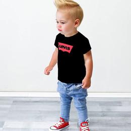 2019 camisas velhas da forma Verão streetwear moda Europeia meninos do bebê meninas de alta qualidade de algodão T-shirt casual baby T-shirt jeans 1-7 anos de idade camisas velhas da forma barato