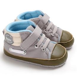 entrenadores de lona para niños Rebajas Niños Niño Recién Nacido Bebé Niño Suela Suave Lona Zapatos de Cochecito Entrenador 0-18 Meses Hook Loop Primavera Otoño UniSex