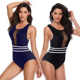 2020 aprire indietro un pezzo swimwear 2019 Zipper Back Open Costumi da bagno donna Costume intero Sexy Taglio alto Costume da bagno Brasile Body Nero Monokini blu Donna sconti aprire indietro un pezzo swimwear