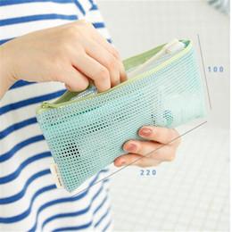 cerniera a maglia piccola Sconti Viaggi Cosmetic Bag Donna trasparente Mesh Zipper Make Up Makeup Case del sacchetto dell'organizzatore di immagazzinaggio del sacchetto di piccola toilette di bellezza Wash