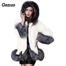 weißer nerzkragen Rabatt Winter-Pelz-Mantel-Frauen-Pelz-Kragen mit Kapuze Mink Weiß und Schwarz Mantel Mittel lang Overcoat Genuo Luxus Winter