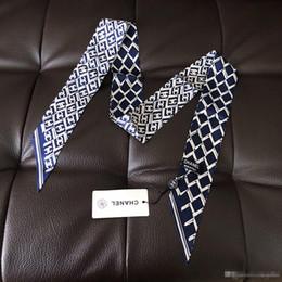 nastro geometrico Sconti Sciarpa geometrica di moda donne sciarpa geometrica snella stretta sciarpa di seta doppia doppia faccia stampa twill di raso piccolo nastro