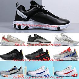 королевская кожаная обувь Скидка Nike air react element 87 55 Undercover 87 55 Undercover мужчин кроссовки для MenDesigner кроссовки Спорт Мужчины тренер обуви Sail Light Bone Royal
