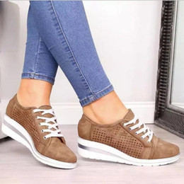 low wedge heel grey shoes Coupons - 2020 Newest Women Shoes Designer Mesh Breathable Trainers Lace-up Flats Breathable Wedge Heel Brown Low Cut Outdoor Shoes 5 Colors