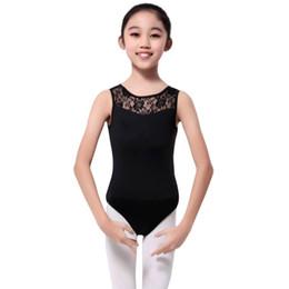 2019 leotard aberto Novas Meninas Crianças Lycra Bodysuit Lace Dance Dance Collant Com Aberto Para Trás Ballet Estiramento Bodysuit Dancewear leotard aberto barato