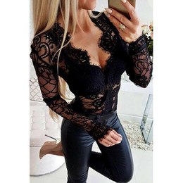 Bodysuit de manga comprida on-line-Mulheres Sexy Lace See-through Tops malha Sheer Jumpsuit Bodycon Bodysuit Léotard manga comprida V profundo Pescoço Evening Party Club