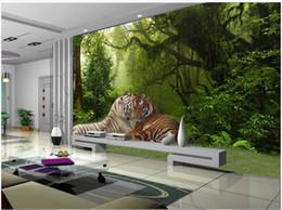 papel de parede de madeira falso Desconto Personalizado Foto Papel De Parede Para Paredes 3D mural wallpapers Idílico paisagem floresta mural sala de estar tigre selva papéis de parede decoração da sua casa