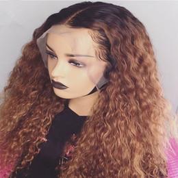 penteados para franjas médias cabelo encaracolado Desconto Cabelo do bebê Ombre Mel loira # 1bT27 Curly cabelo humano peruca de Remy do brasileiro Preplucked completa Lace Wig Glueless Para Mulheres
