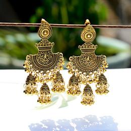4b0bd491b47e 2019 pendientes gitanos TopHanqi Mujeres Bohemia Pendientes de Época 2019  Étnico Oro Metal Big Bells Gypsy