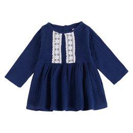 летние платья с длинным рукавом для детей Скидка Девочки кружевном платье лето с длинным рукавом из сплошной хлопчатобумажной ткани назад платье с рюшами детская дизайнерская одежда девушки ну вечеринку платье Peform 6M-4T 04