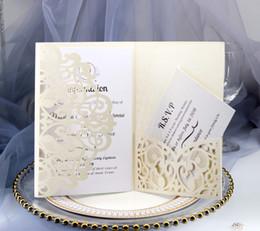 2019 cartões de convites de casamento dobrados a laser com cartões duplos para casamento nupcial do chuveiro aniversário de noivado graduação de