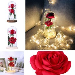 Discount love rose flower glass - 2 colors simulation feel LED Rose Flower glass cover Valentine's