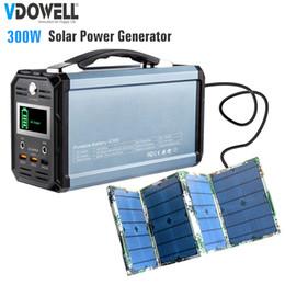Generatore portatile di energia solare online-300W Portable Solar Powered Generator station Uscita AC 110 / 220V / DC 12V / USB per esterni, uso di emergenza, viaggio di fine settimana + 60W Pannello solare