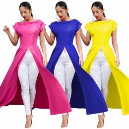 Blusa de cor amarela camisa casual on-line-Tops das mulheres Blusas Camisas sexy ruffles assimétrica na parte de trás do pescoço em torno do rosa amarelo azul cor da camisa ocasional para senhoras