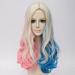 Pelucas de pelo azul rubio online-Suicide Squad Harley Quinn Peluca Rizado Rubio Rosa Azul Mezcla Cabello Cosplay Pelucas