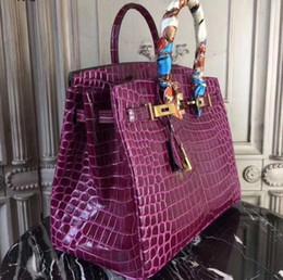 2020 bolsa de crocodilo genuína moda mulher BLOQUEIO designer de 35 centímetros de bolsas de crocodilo embreagem ombro sacos de qualidade superior do couro tote bolsa genuína bolsa de couro com lenço chave desconto bolsa de crocodilo genuína