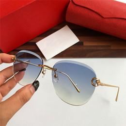f7840ce12 Novas senhoras da moda óculos de sol 475 quadro de cristal de corte sem  moldura da lente de qualidade superior luz cor decorativa óculos uv400  óculos de ...