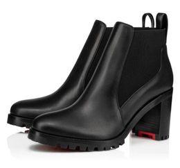 Argentina Cuero de lujo de Lug Sole Marchacroche las botas del tobillo del dedo del pie redondo mujeres señoras de Bottes tacones gruesos botas rojos de fondo, la planta del pie botines Suministro