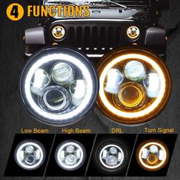 "bombilla led roja h4 Rebajas 7"" faros LED con halo blanco DRL ámbar señal de vuelta para Jeep Wrangler JK LJ CJ Hummer H1 H2"