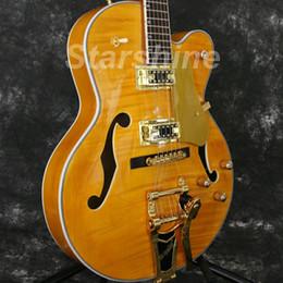 hohlkörpergitarre l5 Rabatt Starshine Hollow Body E-Gitarre YL-JZ50 Gold Hardware Flamed Maple Top Grover Stimmgerät L5 Style Gute Tonabnehmer