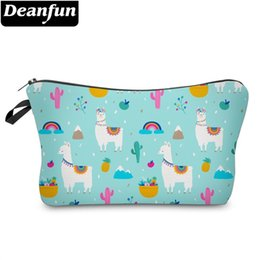 wholesale custom pouch cosmetic bag Promo Codes - Deanfun Llama Cosmetic Bag Waterproof Printing Modish Cactus Travel Pouch Custom Logo for Travel 51474