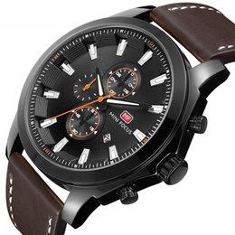 Marca de fábrica superior Hombres Cronógrafo Cuarzo Relojes deportivos Hombres Ejército Correa de cuero Reloj de pulsera Hombre Reloj analógico desde fabricantes