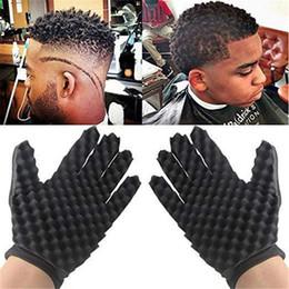 2019 peine la cuchilla peina el cabello Guantes magia Curl pelo de la esponja para twist Barberos Wave guantes cepillo de modelado herramienta para el pelo rizado Styling Cuidado 10pcs
