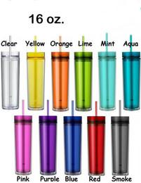 Preço de palha de plástico on-line-Preço de fábrica 16 oz Tumbler Acrílico Skinny com Tampa e Palha 480 ml de Parede Dupla Limpar Copo De Plástico BPA Livre 16 oz garrafa de água em linha reta