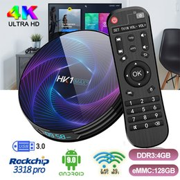 Internet-tv-skype online-HK1 MAX + Android Fernsehkasten RK3368PRO Octa-Core-4GB Ram 64GB / 128GB ROM Set-Top-Box mit 2.4G + 5G WiFi Bluetooth4.0 1000M Internet