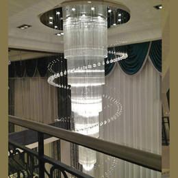 Cristais de escada em espiral on-line-Projeto espiral moderna grande lustre de cristal do hotel luz AC110V 220 V lustre de cristal Lustre de LED escada de iluminação