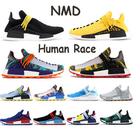 2021 chaussures heureuses 2020 NMD race humaine Hommes Chaussures de course Pharrell Williams Chine Paquet Bonne paix PW Hu Pharrell solaire Mère pack Orange Rouge Femmes Chaussures chaussures heureuses pas cher