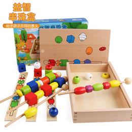 Holzfäden perlen online-Holz Buche Perlen Holzstab Threading wulstige Box Eltern-Kind-lustige manuelle Ausbildung Spielzeug Früherziehung Arithmetik Werkzeug Math