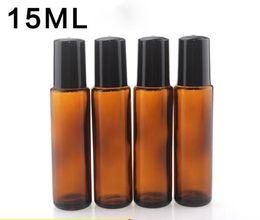 2019 bottiglie di rotolo 15ml La migliore bottiglia di vetro ambrata di qualità 15ml rotola sulla bottiglia vuota di plastica nera del cappuccio di profumo degli olii essenziali del profumo 15ML all'ingrosso sconti bottiglie di rotolo 15ml